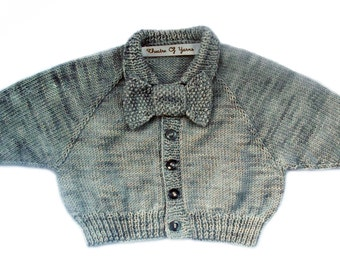 Bow Tie Baby cardigan knitting pattern .pdf file