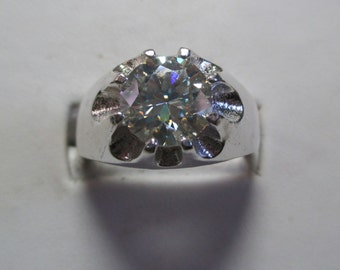 Mens 2.5ct genuine moissanite heavy claw style mens silver ring