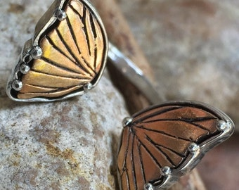 Sterling Bronze Wings Butterfly Ring