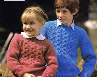 Boy's and Girl's Child's Round Neck Aran Sweater Pullover Jumper Size 61 to 76 cm (24 to 30 inch) Lister Lee  1876 Vintage Knitting Pattern