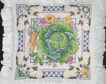 "Vintage 1993 Bucilla Home Decor Collection 14"" Accent Pillow Classics Cross Stitch Kit, Vegetable Patch Cabbage Carrots Peas Bunnies Flowers"