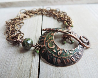 Enchanted Forest and Copper Brass Embossed Patina Toggle Bracelet