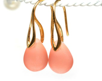 Peach Gold earrings Glass drop earrings Golden earwires Peach teardrop briolette dangle girl earrings by MayaHoney