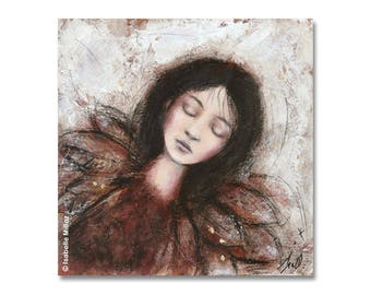 "painting ""I dream to fly"" woman dream feather wings"