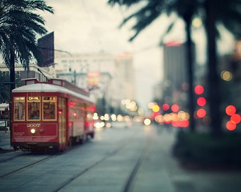 NOLA Nights - New Orleans Art, Canal Streetcar at Dusk, Travel Photography, Dreamy Urban Wall Art, Red, Blue