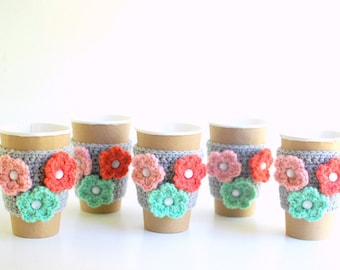 Coffee Cup Cozies, Coffee Cozy, Crochet Coffee Sleeve, Reusable Cup Cozy, Mason Jar Cozy, with multicolored flowers, gift set.