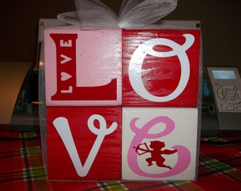 Love wood block stacker set Happy Valentine's Day love cupid heart holiday decoration gift