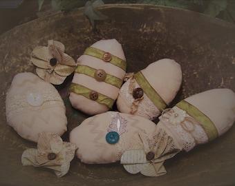 Five Shabby, Primitive, Rustic, Farmhouse, Lg. Easter Egg Bowl Fillers