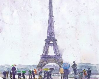 Paris Print, Watercolor Painting, Paris Poster, Paris Decor, Rain, Art, Illustration,Tour Eiffel, Paris Wall Art, eiffel tower, Cityscape