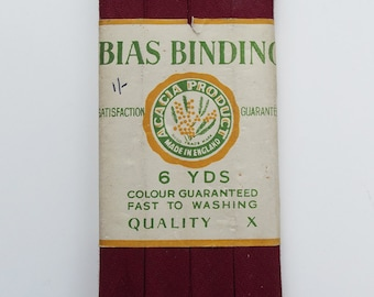 Vintage Bias Binding - Acacia - Dark Red - 10mm 1/2 inch - perfect condition