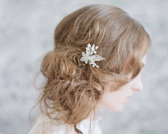 Bridal hair pin -Frosted petite jewel pin - Style 728 - Made to Order