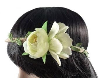 Beige - wedding flower Crown headband