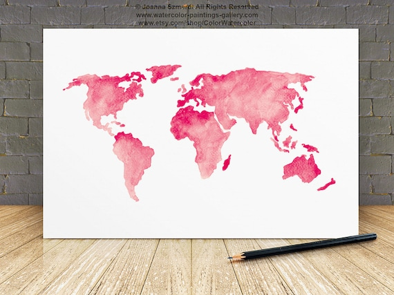 World map silhouette baby pink wall decor girls nursery room world map silhouette baby pink wall decor girls nursery room watercolor painting large world map art print travel poster home decoration gumiabroncs Image collections