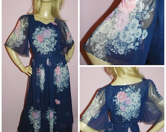 Vintage 70s Navy Multicoloured ART NOUVEAU FLORAL Rose print dress Wing Flutter sleeves 12 M Deco Iconic 1970s Kitsch Psychedelic Evening