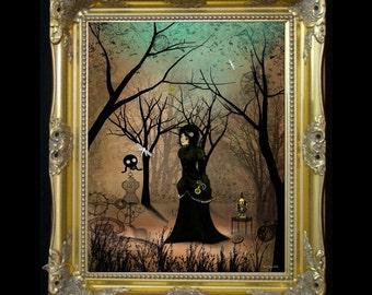 Steampunk Art  Print -- Time -- Steampunk Girl - Gas Mask - Clocks - Woodland
