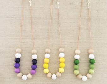 Hand Painted Wooden Bead Necklace Short