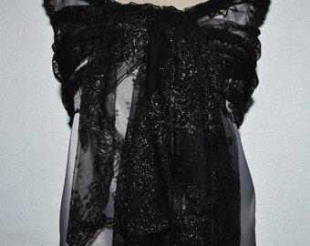 Black Lace shawl, black woman shawl, stole in iridescent Black Lace, black iridescent lace cover-up, evening shawl stole black cocktail