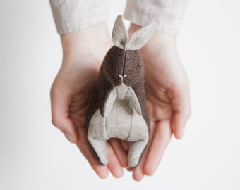 Wool Felt Rabbit Bunny, Stuffed Animal 5 Inches, Personalized Gift, Woodland Animals, Soft Animal Sculpture, Handmade Toy, Ready To Ship