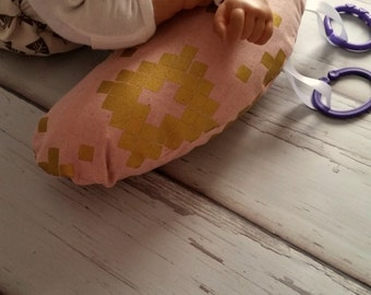 Organic Tummy Time Pillow, Pink& Gold Mosaic