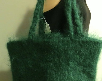 Hand Made Felted Tote Bag wool mohair forest green
