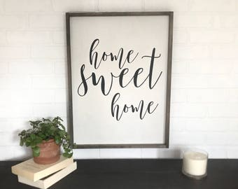 Home Sweet Home Framed Sign. Farmhouse Wall Decor. Calligraphy Wood Sign. Rustic Wall Decor. Quote Sign. Wood framed Sign.