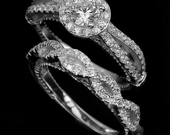 Edwardian Art Deco Downton Abbey Jewelry 14k White Gold Vermeil CZ Wedding Engagement Eternity Ring Set (USA 7, UK O) - Truly Venusian