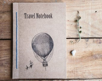 Travel notebook balloon, romantic vintage handmade journal, rustic travel diary recycled paper