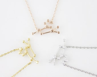 Rose Gold Leo Constellation Necklace Zodiac Sign Necklace Zodiac Jewelry Birthday Gift Zodiac Necklace