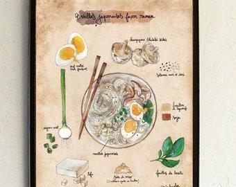 "Recipe illustration - Illustrated recipe - Kitchen Wall decor - Cooking - Food art - botanical - vegan - Kitchen art - ""Japanese Ramen"""