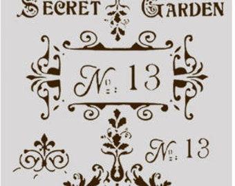 Large Secret Garden, Ornate Filigree Stencil