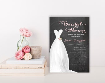 Bridal Shower Invitation Template | Editable Invitation Printable | Wedding Shower Dress Invite | No. PW 2027