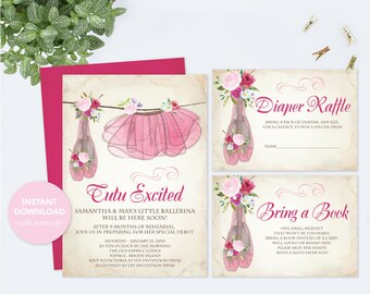 BABY SHOWER INVITATION Girl, Invitation Template Set, Diaper Raffle, Book For Baby, Couples Baby Shower, Ballerina Tutu, Instant Download