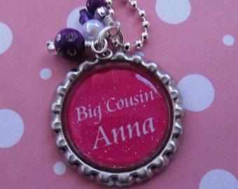 Big Cousin Gift Girls Necklace Personalized Best Tween Birthday Rhinestone
