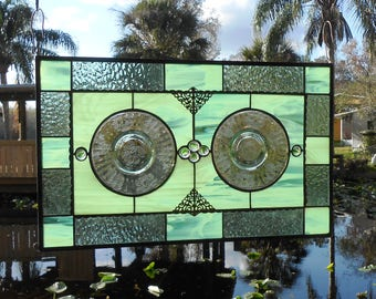Stained Glass Panel, Antique Depression Glass Valance w/1930s Hazel Atlas Fruits Plates, Stained Glass Transom Window, Vintage Home Decor