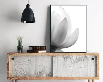 Lotus print floral decor, flower photography, black and white floral wall art, minimalist floral poster download large wall art print