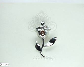 Pick A Pearl Cage Silver RJS Rose Stem Charm Holds Pearl Bead Gem Beauty Belle Silver Locket