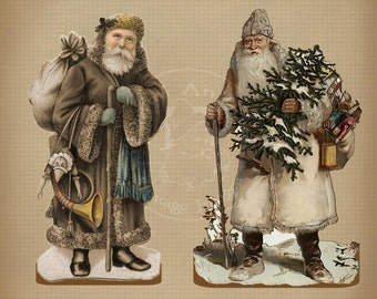 Vintage Christmas Santa Ecru Stand Up Decorations and Tags Printable Digital Download