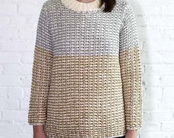 Colorblock Tunic Handknit Sweater