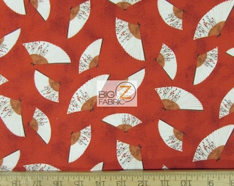"""Hanami Falls Handfan Red By Evelia For Wilmington Prints 100% Cotton Fabric 45"""" Wide By The Yard (FH-1806)"""