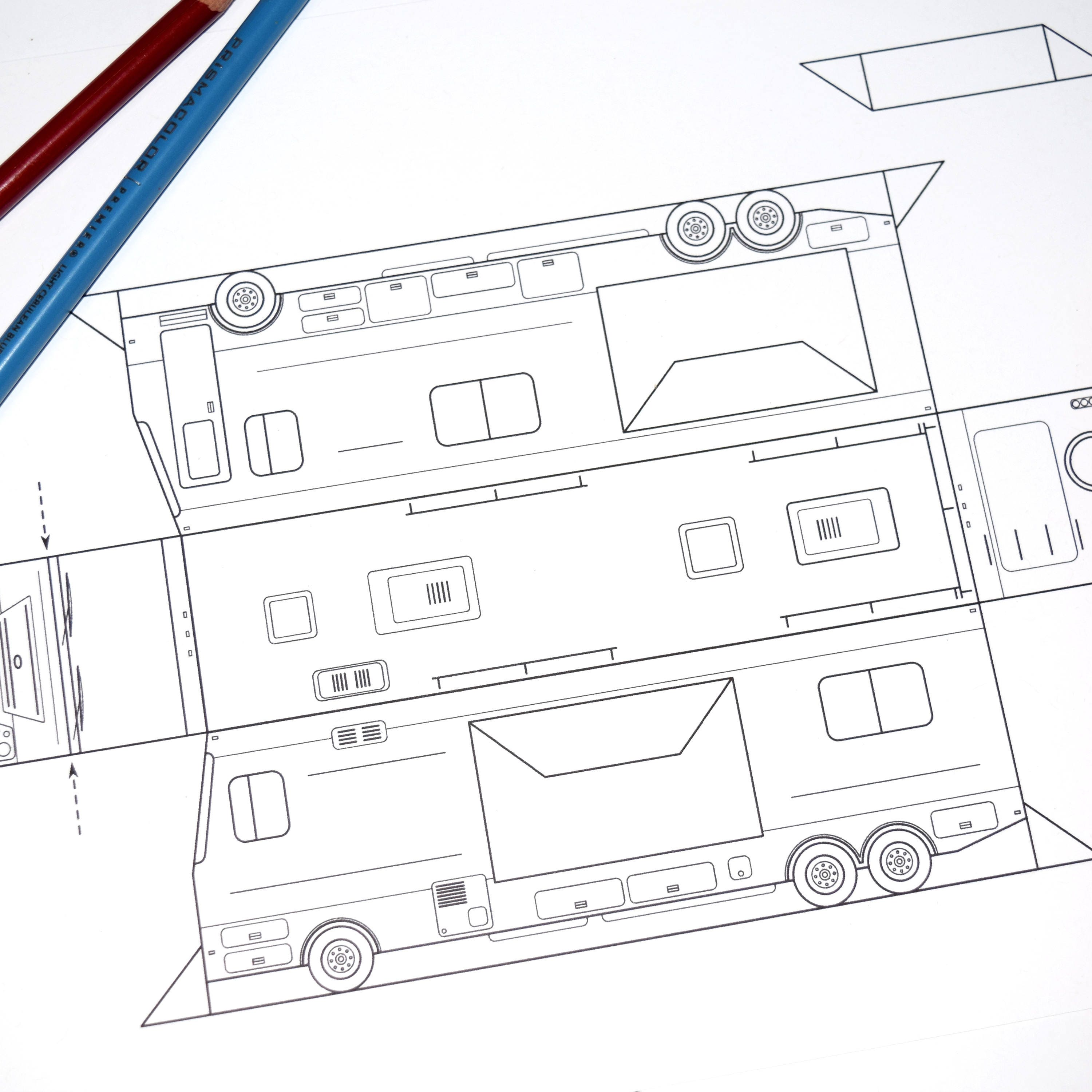 Coloring Page Paper Model RV Camping Kids Summer Project Gift Party ...