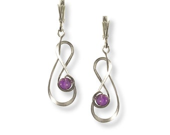 Involution Earrings (Argentium Silver and Amethyst Gemstone) Available in most any color gemstone or pearls.