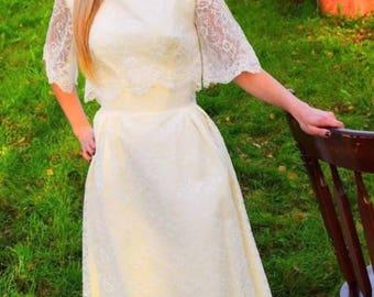 1950's Vintage white lace wedding dress size XXS