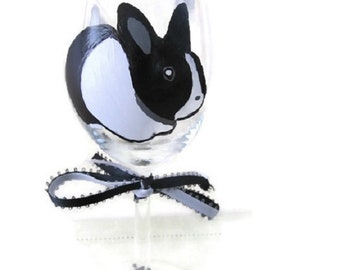 Hand Painted Wine Glass Dutch Rabbit - Black and White Bunny