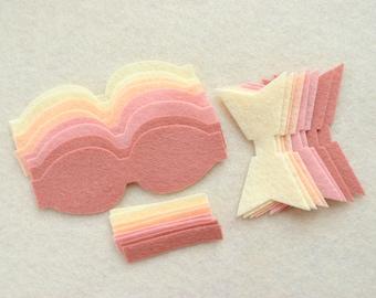 8 Piece Chunky Die Cut WOOL Blend Felt DIY Bows, Blush