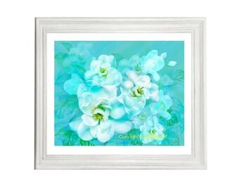 White Wild Rose Digital Art Print, Instant Digital Download, Turquoise, Printable Art, Art Print, Art & Collectibles