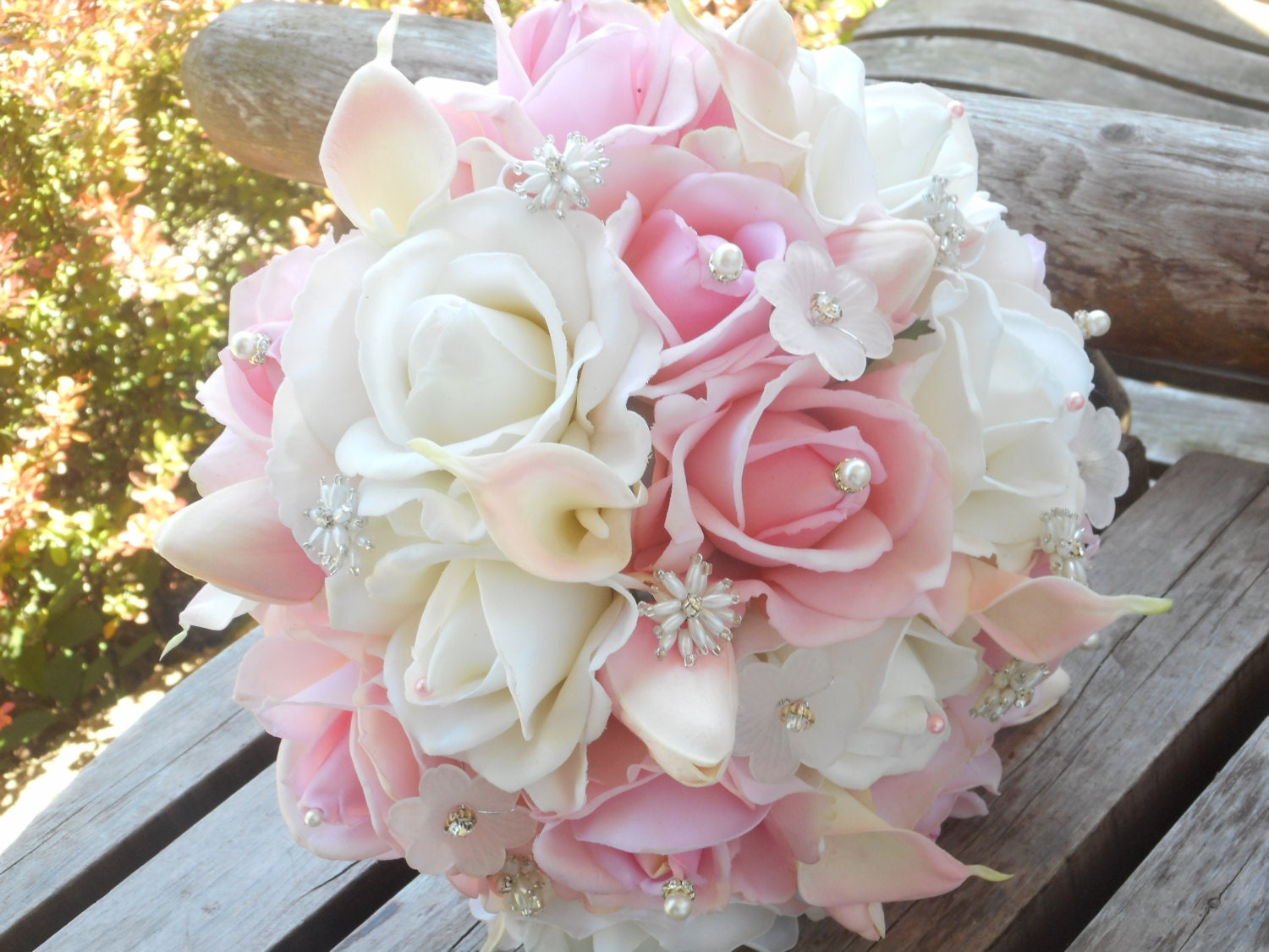 Blush pink bridal bouquet white real touch rose calla lily zoom izmirmasajfo