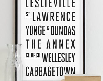 Toronto Subway Sign Wall Art Typography Poster - Modern Art Print