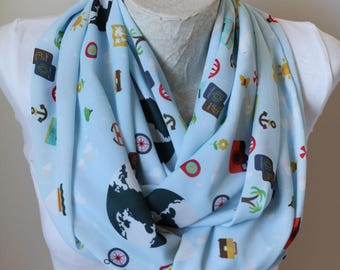 Travel Scarf Map Infinity Scarf Travel Gifts for Women Compass Spring Scarf Travel Accessories Mothers Day Gift for Her