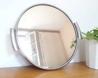 French vintage tray with handles vintage metal mirror 50/french vintage mirror tray of the 50's