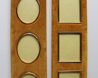 Vintage Pair of Velvet Covered Vertical 3-Hole Picture Frames 1950s